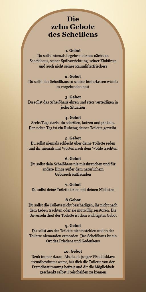 Die zehn Gebote des Scheißens