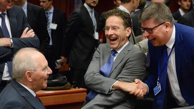 Schäuble und Djisselbloem beim Ablachen